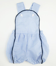 Blue and navy gingham Jack Romper