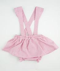Pink Gingham Skirted Suspender Bloomers