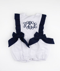 white and navy seersucker Dallas romper