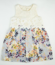 Purple and cream floral lace Janie Mae Dress