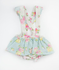 Blue and white floral skirted suspender bloomer