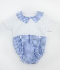 Blue gingham button t-shirt romper