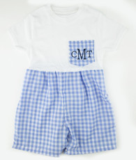 Blue and white check pocket t-shirt romper