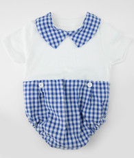 Blue and white check bodysuit romper