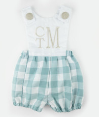 Aqua and linen check jack romper
