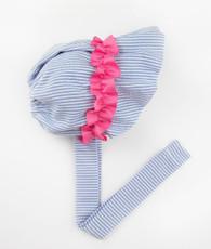 Blue and pink seersucker gathered bonnet