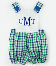 Blue and green plaid jack romper