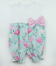 Aqua and pink flamingo romper