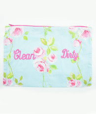 Aqua and pink floral clean/dirty bag