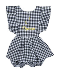 Black Check Bumble Bee Skirted Romper