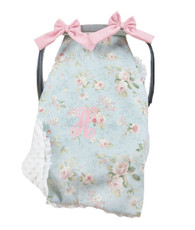 Blue and pastel pink car seat cover