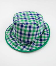 Blue and green plaid bucket hat