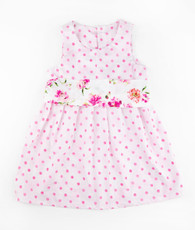 Pink dot & floral sash janie mae dress