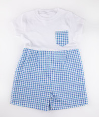 Blue and white check gingham t-shirt romper