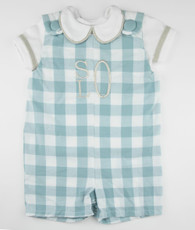 Aqua and white plaid shortall and shirt set