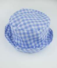 Blue and white check bucket hat