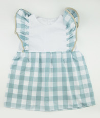 Aqua and white gingham pinafore dress