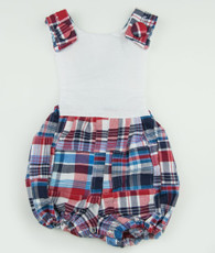 Red and blue patchwork plaid jack romper