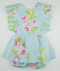 Green and pink floral romper