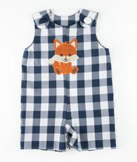 Blue and white check fox shortall