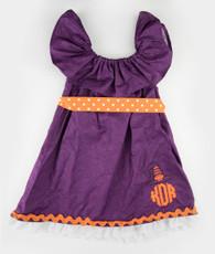 Purple and orange pumpkin initial dress