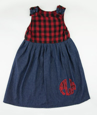 Buffalo plaid denim initial Kelley dress