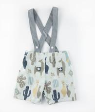 Blue and gray llama suspender shorts