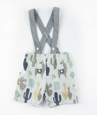 Blue and gray llama suspender shorts