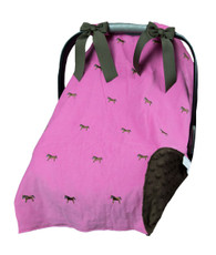 Pink horse car seat cover