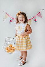 Yellow and white check skirt dress