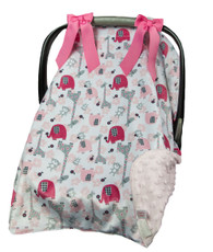 Pink and gray elephant car seat cover