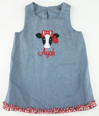 Denim cow shift dress