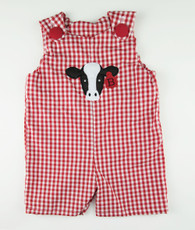 Red and white gingham cow face shortall