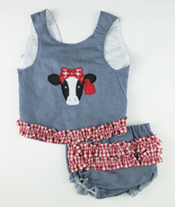 Red gingham and denim cow applique top and bloomers set