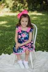 Pink and navy floral kelley dress