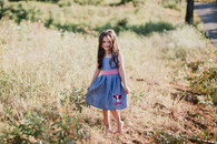 Denim and red cow applique' kelley dress