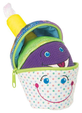 """Colorful Plush Cupcake with Zipper - 7"" high"""
