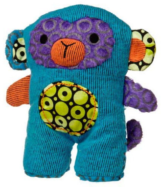 """Blue/Green Stuffed Monkey  with Embroidered Face - 6"" high"""
