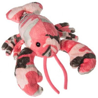 """Pink Camouflage Stuffed Lobster - 7"" long"""