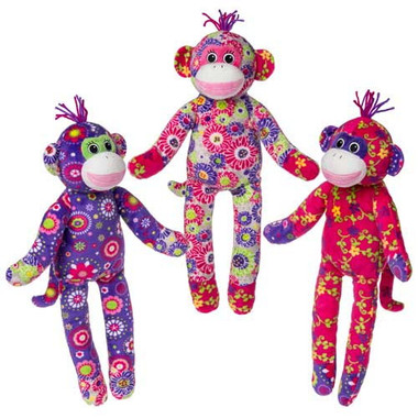 """Colorful Stuffed Sock Monkeys - 17"" high"""