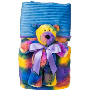 """Tie Dyed Blanket & a Teddy Bear - 28"" x 40"" """