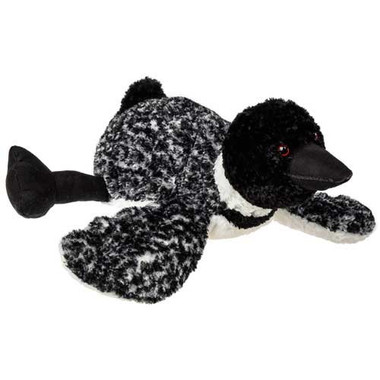 """Black/White Stuffed Loon - 12"" long"""