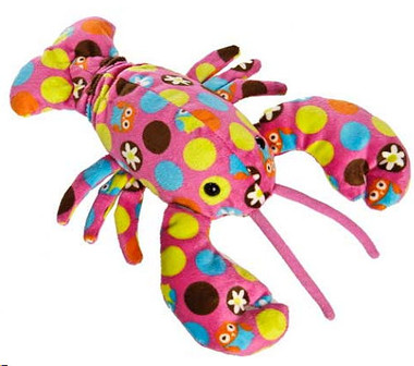 """Multicolored Stuffed Toy Lobsters - 7½"" long"""