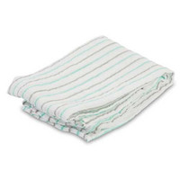 """Aqua & Grey Striped Muslin Swaddling Blankets - 47"" x 47"" """
