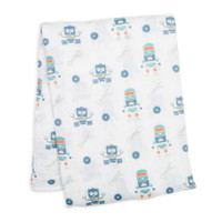 "47x47"" Robot Print Cotton Muslin Swaddling Blankets - 63% Off Retail (4 pieces)"