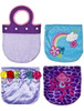 Lavender plush children's purses, sold by the case at deep discount