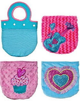 Interchangeable Plush Purses (Aqua Purse Handle & 3 Switchable Covers)