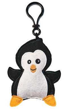 """Black/White Stuffed Toy Penguin Clip-On with Sound - 5"" high"""