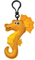 """Gold Colored Stuffed Toy Sea Horse with Sound Chip - 5"" high"""