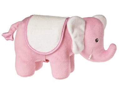 """Pink Stuffed Elephant with White Saddle - 9"" long"""